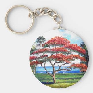 Royal Poinciana Tree Art Keychain