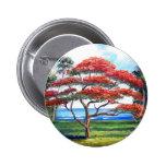 Royal Poinciana Tree Art Pinback Buttons
