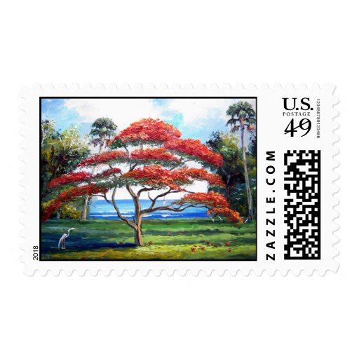 Royal Poinciana Tree Painting on Postage Stamps