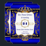 "Royal Prince 21st Birthday Blue Ornate Gold Crown Invitation<br><div class=""desc"">Twenty First 21st birthday party Prince men male Boy Royal blue and Damask Faux Ornate Gold for a boy. Prince. Gold Crown. With a gold trim. Faux Gold Foil Boy</div>"