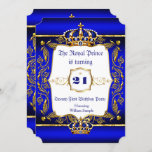 """Royal Prince 21st Birthday Blue Ornate Gold Crown Invitation<br><div class=""""desc"""">Twenty First 21st birthday party Prince men male Boy Royal blue and Damask Faux Ornate Gold for a boy. Prince. Gold Crown. With a gold trim. Faux Gold Foil Boy</div>"""