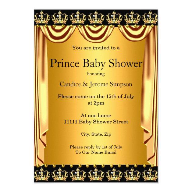 royal prince baby shower black gold ethnic boy card   zazzle, Baby shower invitations