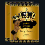 "Royal Prince Baby Shower Black Gold Ethnic Card<br><div class=""desc"">Black and Gold Royal Little Prince Baby Shower. Cute Boy with a Gold Crown. Boy Baby shower for Ethnic African American baby boy. Elegant Baby Shower for a boy. Very cute baby shower.</div>"