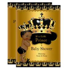 Royal Prince Baby Shower Black Gold Ethnic Card