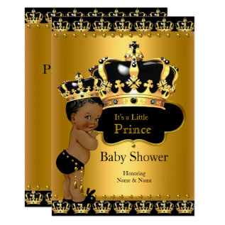 Royal Prince Baby Shower Black Gold Ethnic Card at Zazzle