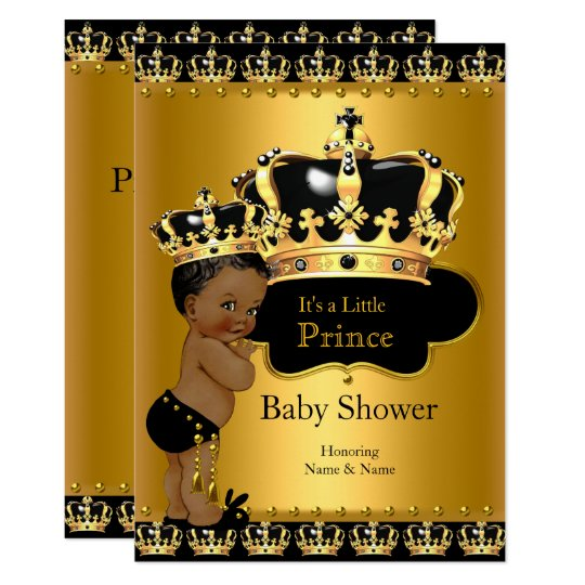 royal prince baby shower black gold ethnic card | zazzle, Baby shower invitations