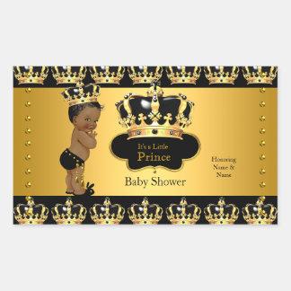 Royal Prince Baby Shower Black Gold Ethnic Stick 2 Rectangular Sticker