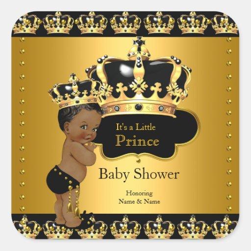 royal prince baby shower black gold ethnic sticker zazzle