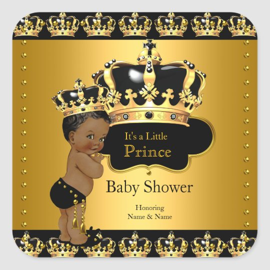 Royal Prince Baby Shower Black Gold Ethnic Sticker Zazzle Com