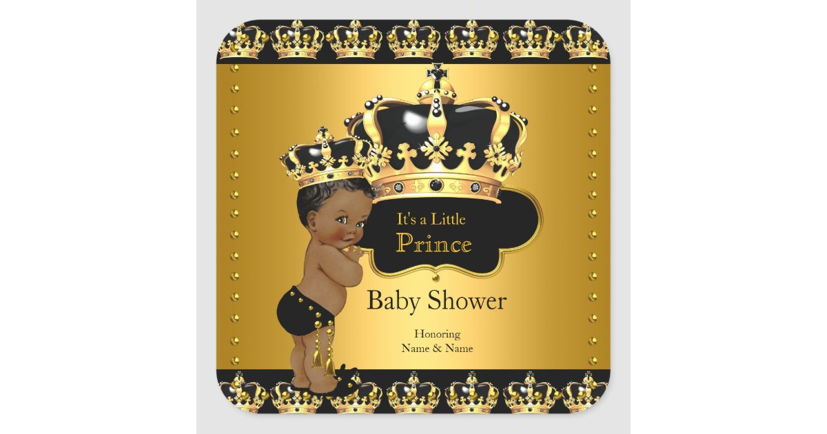 Royal Prince Baby Shower Black Gold Ethnic Sticker ...