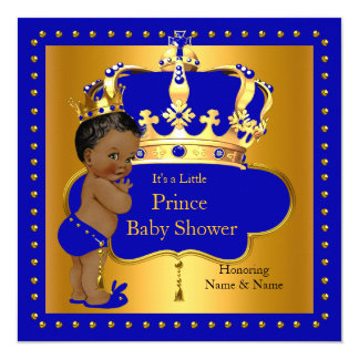 Royal Prince Baby Shower Blue Boy Crown Ethnic Card