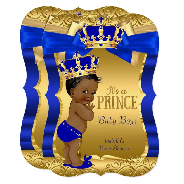 royal prince baby shower blue gold bow ethnic card   zazzle, Baby shower invitations
