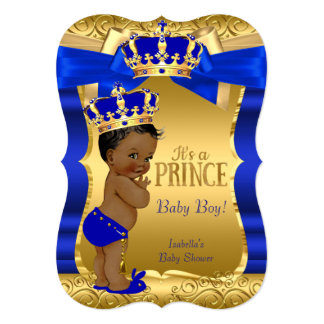 Royal Prince Baby Shower Blue Gold Bow Ethnic Card