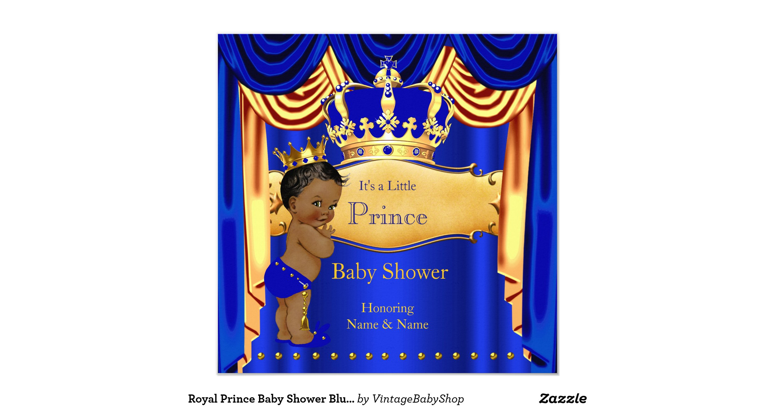 royal prince baby shower blue gold crown ethnic invitation