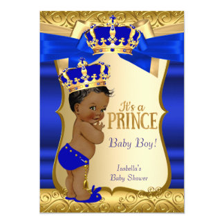 Royal Prince Baby Shower Blue Gold Damask Ethnic Card