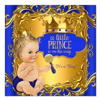 Royal Prince Baby Shower Blue Gold Rattle Blonde Card