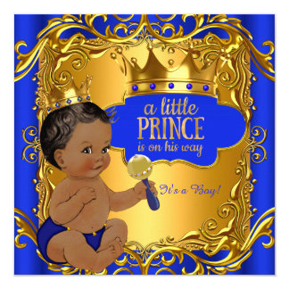 Royal Prince Baby Shower Blue Gold Rattle Ethnic Card