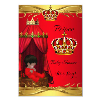 Royal Prince Baby Shower Boy Regal Red Crown Card