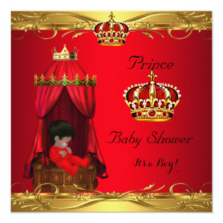 """Royal Prince Baby Shower Boy Regal Red Crown 5.25"""" Square Invitation Card"""