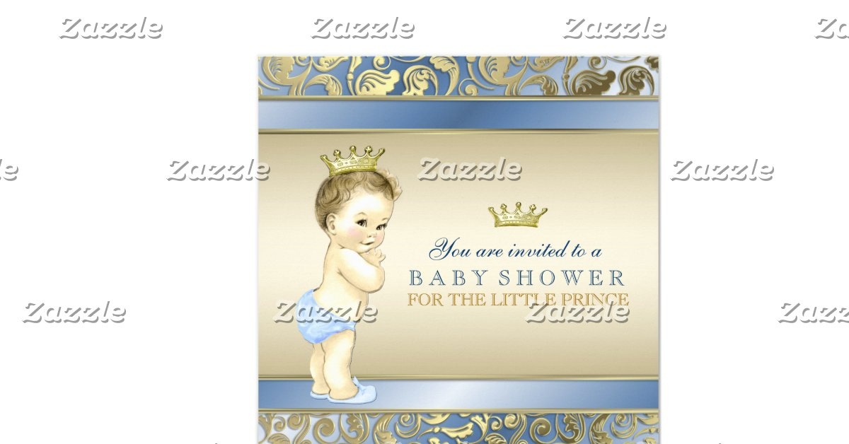 royal prince baby shower square invitation card zazzle