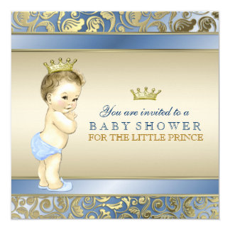 Royal Prince Baby Shower 5.25x5.25 Square Paper Invitation Card