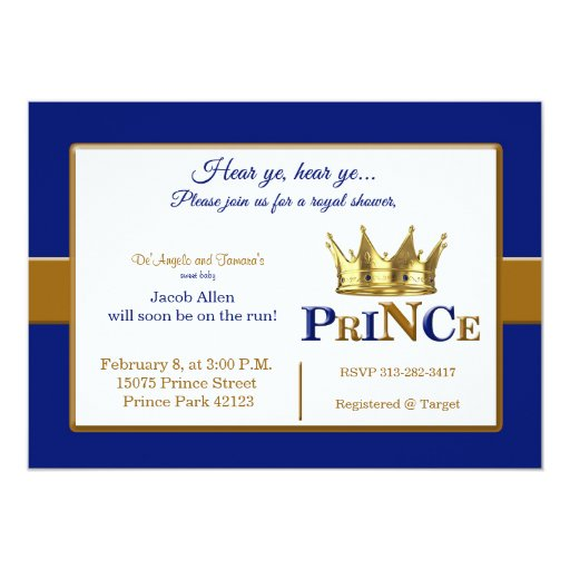 royal prince baby shower invitations zazzle