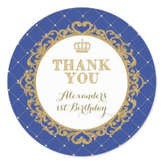 Royal Prince Baby Thank You Sticker Birthday Favor