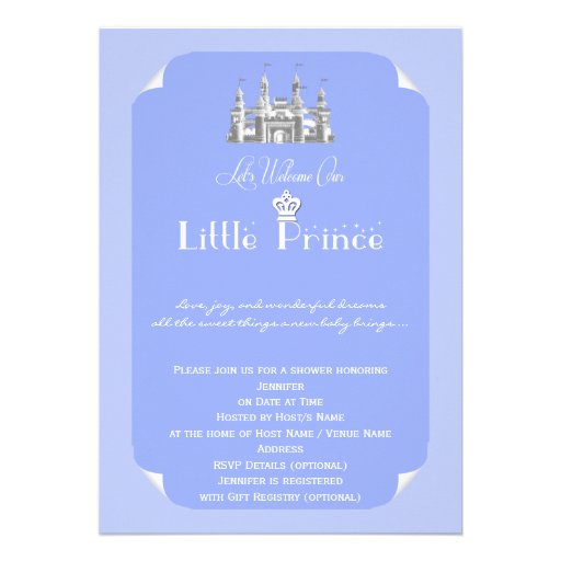 royal prince blue baby boy shower 5x7 paper invitation card zazzle