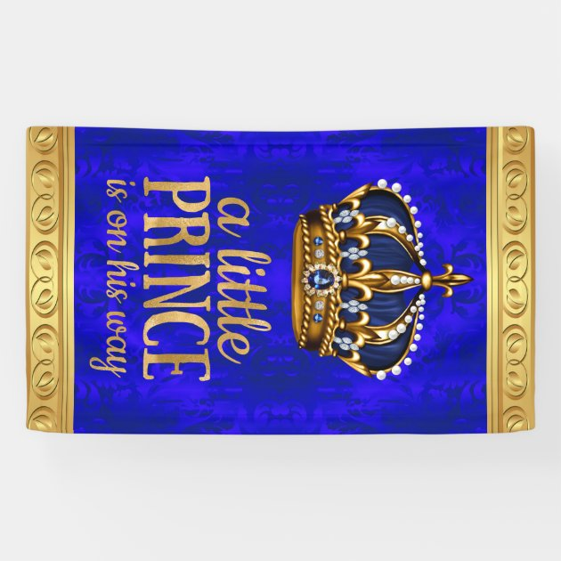 Royal Prince Crown Boy Prince Baby Shower Banner | Zazzle