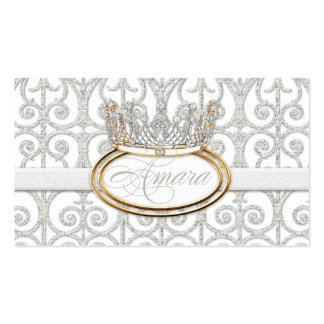 Royal Prince Princess Crown Baby Shower Favor Tags Double-Sided Standard Business Cards (Pack Of 100)