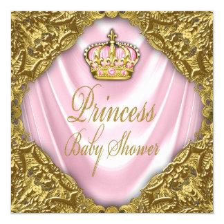 Royal Princess Baby Shower Pink and Gold Satin Card