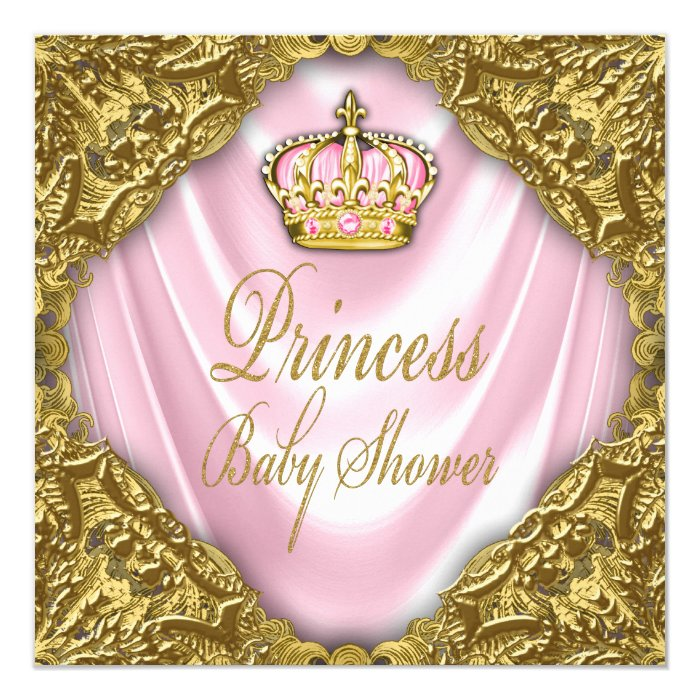 Royal Princess Baby Shower Pink and Gold Satin Card | Zazzle