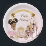 "Royal Princess Castle Carriage Pink Gold Girl Paper Plate<br><div class=""desc"">Sweet little princess with her crown and carriage in front of her castle. Done in pink &amp; gold. Use for birthdays,  baby showers or announcements.</div>"