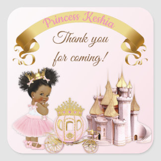 Royal Princess Castle Carriage Pink Gold Girl Square Sticker