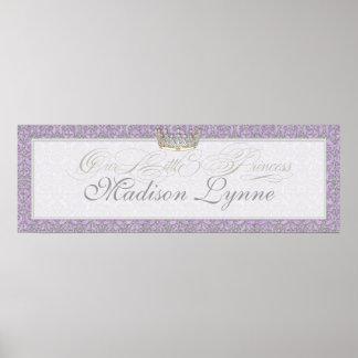 Royal Princess Crown Baby Girl Room Name Poster