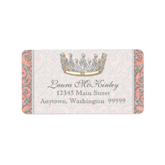 Royal Princess Crown Baby Matching Address Label
