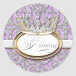 Royal Princess Crown Girl Baby Shower Sticker Seal