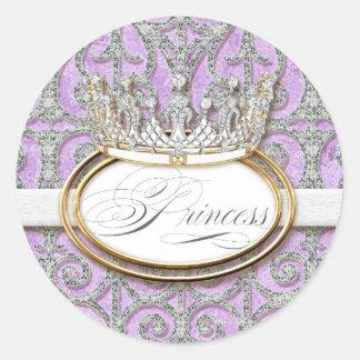 Royal Princess Crown Girl Baby Shower Sticker Seal