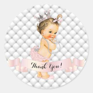 Royal Princess Diamonds Jewels Crown Blush Pink Classic Round Sticker