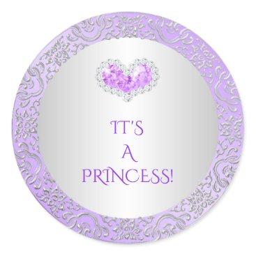 Valentines Themed Royal Princess Lilac & Silver Diamond Heart Gem Classic Round Sticker