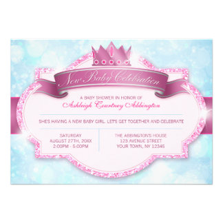 Royal Princess Pink Glitter and Blue Baby Shower Invitations