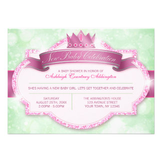 Royal Princess Pink Glitter and Green Baby Shower Personalized Invites