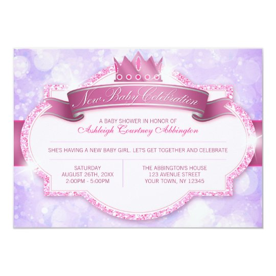 Royal Princess Pink Glitter and Purple Baby Shower Card