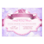 Royal Princess Pink Glitter and Purple Baby Shower Announcement