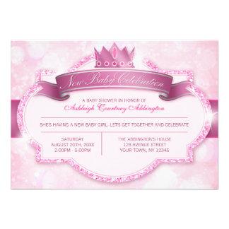 Royal Princess Pink Glitter Baby Shower Invitation