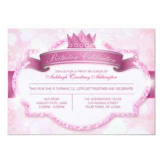 Royal Princess Pink Glitter Girls Birthday Party Custom Announcements