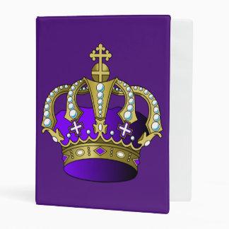 Royal Princess Prince Queen King Crown Purple Gold Mini Binder
