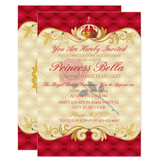 Royal Princess, Red Rose Birthday Invitations