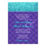 Royal Purple and Aqua Blue Damask Wedding G500 Invitation