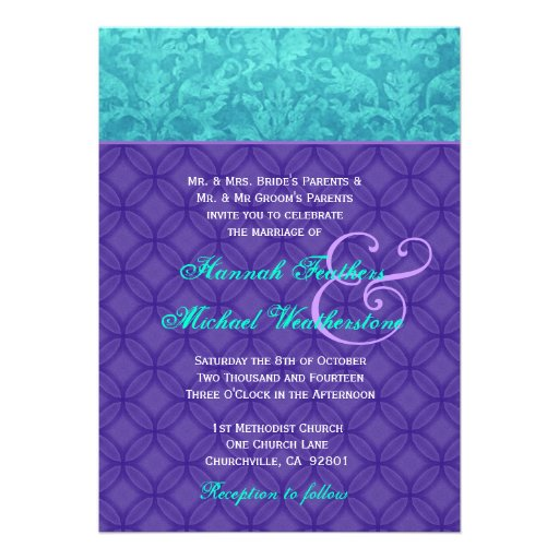 Personalized Purple and turquoise wedding Invitations ...